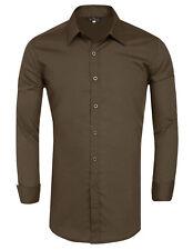 Moderna para Hombre Casual Camisas Negocios Vestido Camiseta Manga Larga Slim