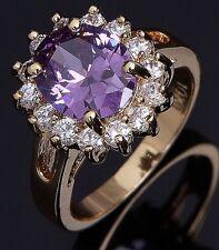 Fashion Jewelry Size 7 Bridal Round Cut Women 18K Gold Filled Amethyst Band Ring