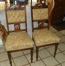 Pair of Mahogany Carved Sidechairs / Entry Chairs (Sc197)