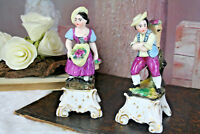 PAIR French antique petit pique fleurs Vases Figurines man&lady porcelain faienc