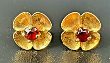 Pretty Vintage 9ct Gold and Garnet Flower deisgn Earrings