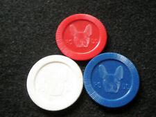 3 Antique / Vintage Boston Terrier Poker Chips Dog or Animal Lover Gift! Po Do