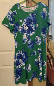 Isaac Mizrahi Live! Crew Neck Regular Print Dress (Green Floral XL)