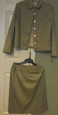 BROWNSTONE STUDIO NEW YORK 100% SILK GREEN & BEIGE STRIPED SKIRT JACKET SUIT 12