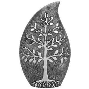 35 cm Gunmetal Vase Tree of Life Grey Art Vase Décor Brushed Table Ornament
