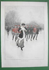 WINTER Skating Officerrs Chase Young Lady - VICTORIAN Era Color Engraving