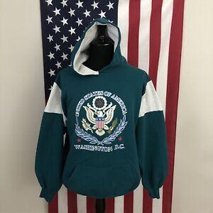2XL vtg 90s Washington DC Hoodie Sweatshirt men's made in usa colorblock 5f241p
