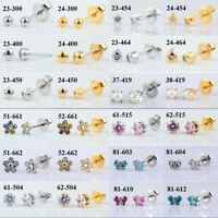12Pair Surgical Steel CZ Stud Earring Ear Cartilage Helix Piercing Classic Stud