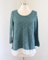 Ann Taylor Loft Teal Blue Lace Hem Trim Pullover Sweater Top Size L