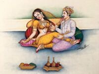 Fine Indian Miniature Painting Mughal Lovers King Queen Mogul Real Gold Artwork
