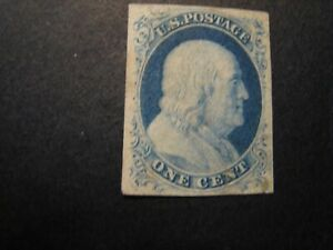 1852 US S#9 1c Franklin, blue, imperforate, type IV Used? Difficult To Tell Nice