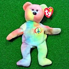 NEW Ty Beanie Baby PEACE Bear Retired Teddy - PE No Stamp - MWMT - FREE SHIPPING