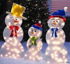 Holiday Outdoor indoor Frozen Snowmen Family Lighted Yard Decor