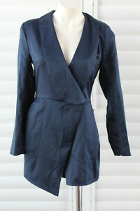 🇺🇳 SIZE 12 BOOHOO BLUE NAVY SATIN POLYESTER COLLARED CROSSOVER ROMPER PLAYSUIT