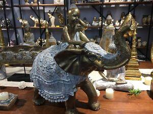 ANANDA White Dusted Gold Boy & Elephant Ornament New Item Australian Designer!!!