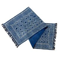 Killim Mat Long Cotton Handmade Wool 2x6ft Blue Dhurrie Knotted Runner Area Rug