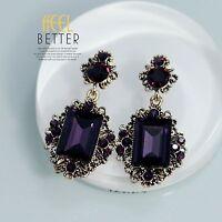 Boucles d`Oreilles Clips Doré Verre Facetté Violet Art Deco Vintage Mariage YW4