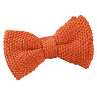DQT Knit Knitted Plain Burnt Orange Casual Adjustable Pre-Tied Boys' Bow Tie