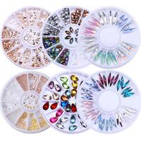 3D Nail Art Decoration Wheel Rose Gold Rivet Resin Jelly Rhinestones Beads Studs