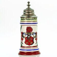 German Lidded Beer Stein with Lithophane Antique Porcelain Germany Mug 1900s