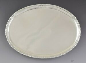 Rare Antique 1700s European Silver Oval Serving Claw Foot Tray 9.5 X 12.75