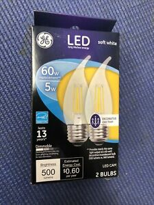 GE Soft White Candle 5W LED Bulbs Decorative Clear Bent Tip Replaces 60w B13