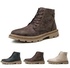 Men's Ankle Boot Casual Lace Up Retro Leather Round Toe Work Outdoor Shoes New