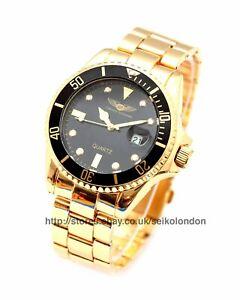Torenzo Giovanni Submariner Black Dial, Black Bezel, Gold Finish Watch