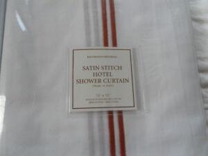 NEW AUTH RESTORATION HARDWARE SATIN STITCH HOTEL  SHOWER CURTAIN 72X72
