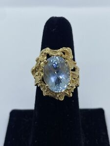 HUGE 14k Yellow Gold Nugget Oval Aquamarine Cocktail Ring SZ 8