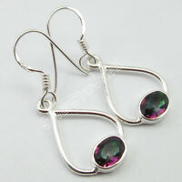"""925 Solid Silver HANDCRAFTED DECO Jewelry, Rainbow MYSTIC TOPAZ Earrings 1.3"""""""