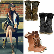 Women Combat Style Worker Ankle Boots Lady Flat Punk Goth Army Military Shoes