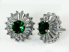 Sparkling Emerald Green Silver CZ Post Stud Earrings Halo Round Baguette