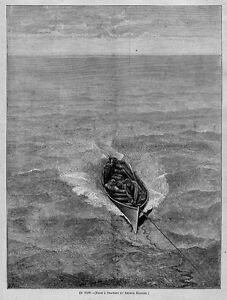NAUTICAL ROWBOAT IN TOW OARS 1871 HARPER'S WEEKLY ANTIQUE ENGRAVING BOAT PILOT