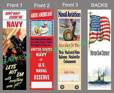 3-WWII US NAVY BOOKMARK Book Mark Card Vintage Military Look World War Aviation