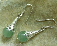 Aventurin Edelstein Ohrhänger Ohrringe Earrings mit 10 mm grünen Aventurin