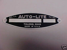 Auto-Lite Starter Generator Plate used on Cars Trucks Tractors Acid Etched Alum