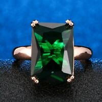 Sparkling Cushion Green Emerald Ring Women Jewelry 14K Gold Plated Nickel Free