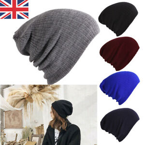 Mens Womens Beanie Hat Oversized Slouch Winter Woolly Ski Knitted Warm Cap Gifts