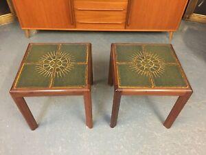 Pair of Mid Century G Plan Teak Tiled Side Lamp Tables Retro Vintage