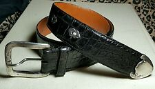 Blk Ralph Lauren Alligator Belt w/Ster Buckle,Tip & Escutcheons  XL Purple Label