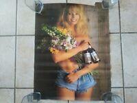 Vintage 1991 Stroh's Light Beer Flower Girl Model Poster Minnesota Bud 18x23