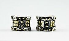 Vintage Judith Jack Sterling Silver Marcasite 8mm Wide Compact Hoop Earrings