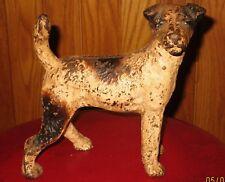 Antique Hubley Cast Iron Wire Haired Fox Terrier Dog Door Stop