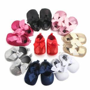 Girl's Baby Infant Sequins Glitter Crib Shoes Toddler Prewalker Soft Sole 0-12M