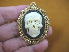 (CM180-2) Day of the Dead sugar Skull ivory + black CAMEO Pin Pendant brooch