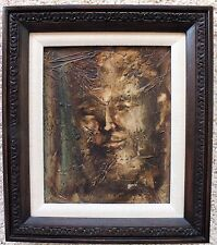 Illegibly signed EXCEPTIONAL abstract expressionist mod painting face MCM 1970s