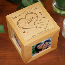 Personalized Valentines Day Photo Cube Because I Love You Picture Frame Cube