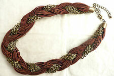 NECKLACE – WARM CHESTNUT BROWN & GOLD_UNUSUAL THICK TWISTED DESIGN – BRAND NEW