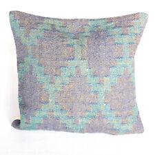 "Hand Woven Jute Kelim Throw Pillow Cases Vintage Kilim Rug Cushion Cover 18x18""."